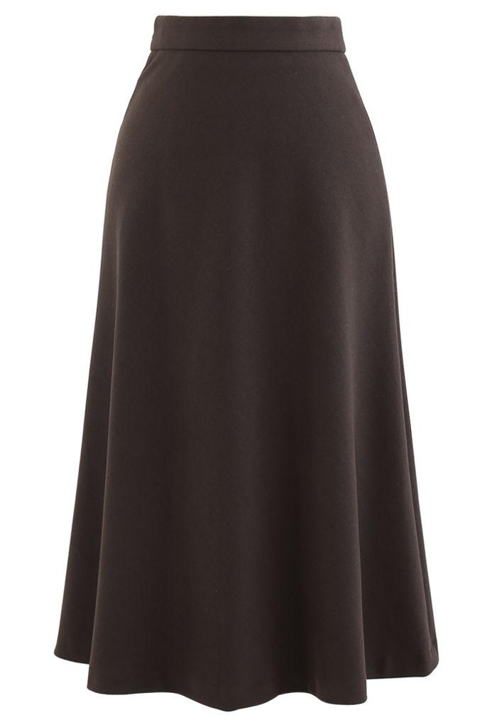 High Waist Basic Seamed Midi Skirt in Brown