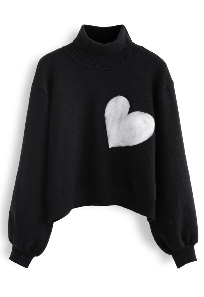 Embroidered Heart High Neck Knit Sweater in Black