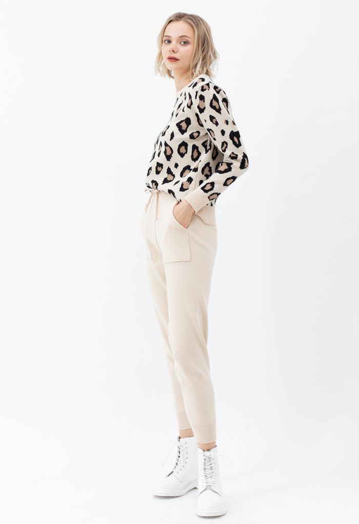 Knit Leopard Sweater and Pockets Joggers Set