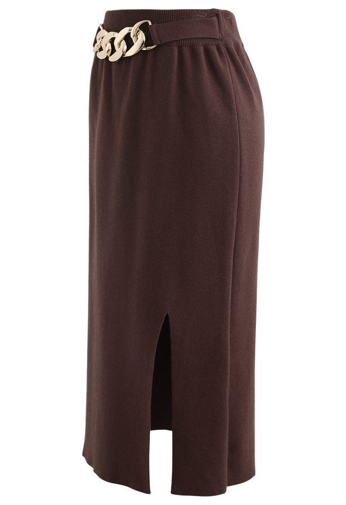 Golden Chain Waist Slit Pencil Knit Skirt in Brown