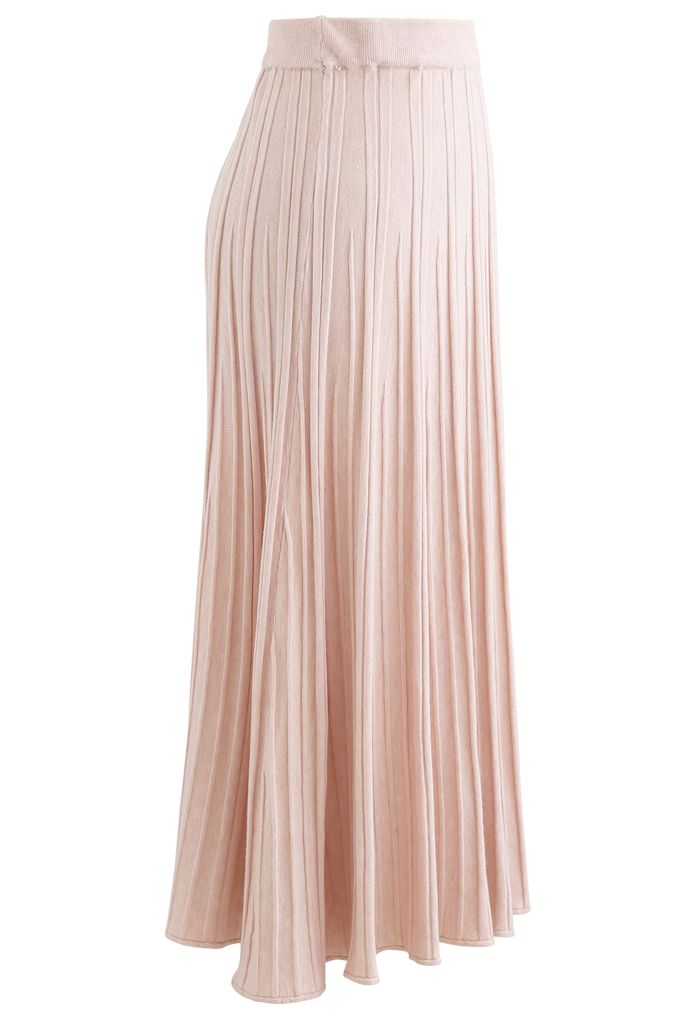 Solid Pleated Knit Skirt in Pink