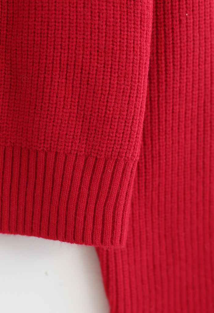 Bowknot Brooch Button Up Crop Knit Cardigan in Red