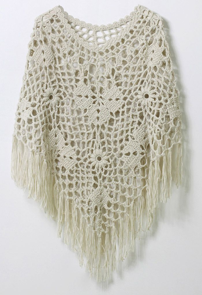 Delicate Hand-knit Fringe Cape in Off-White