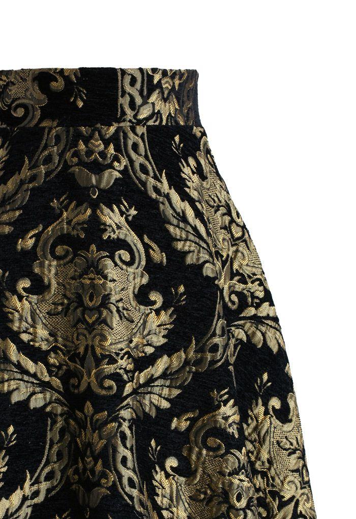 Golden Bouquet Jacquard Midi Skirt