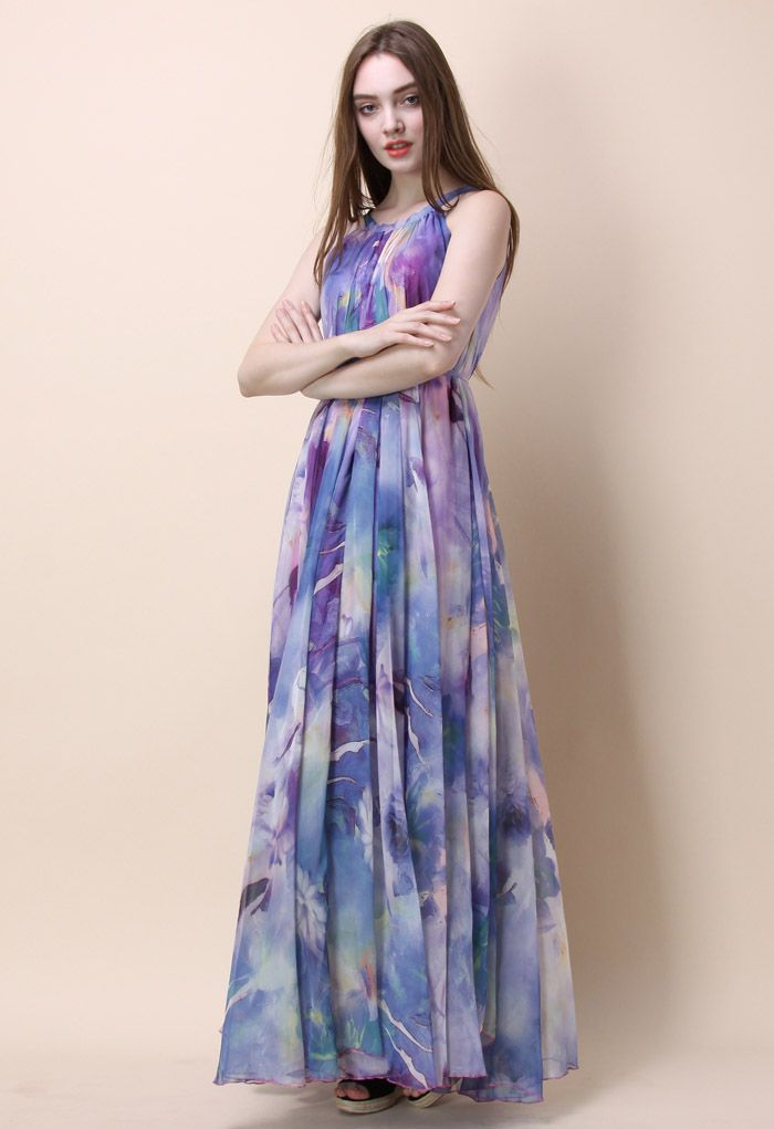 Floral Watercolor Maxi Slip Dress in Violet