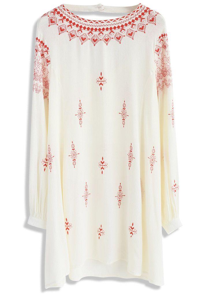 Boho Evocation Embroidered Dress in Beige