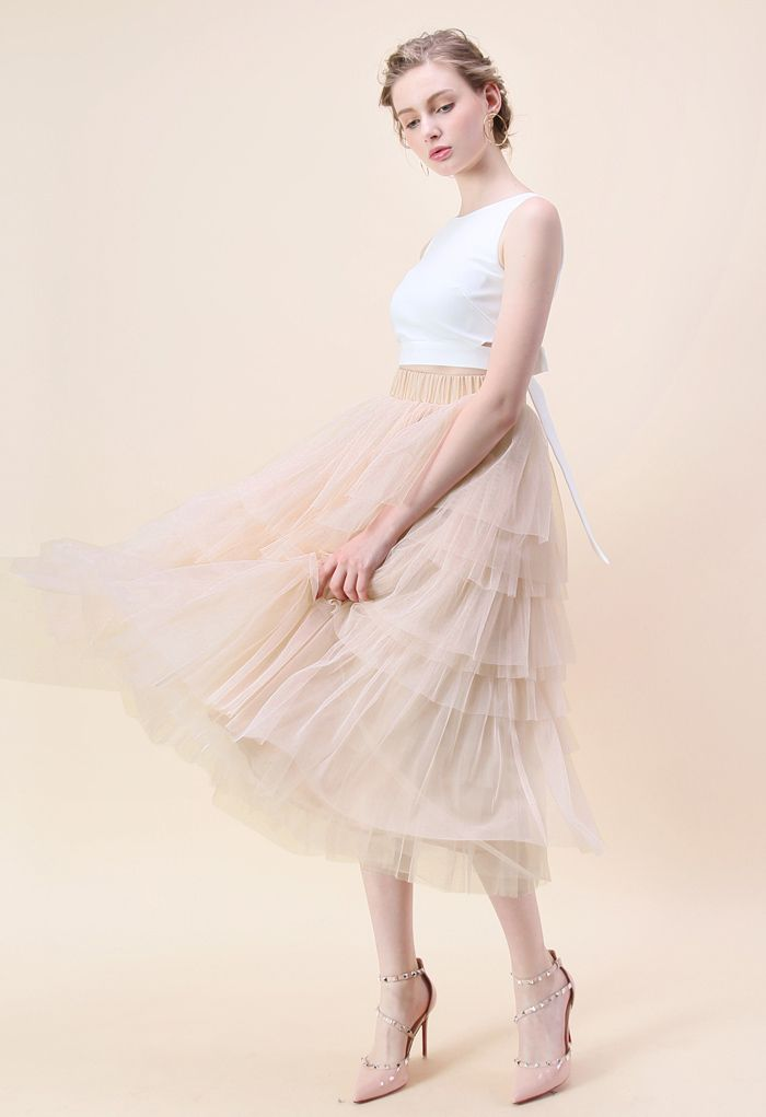 Love Me More Layered Tulle Skirt in Nude Pink