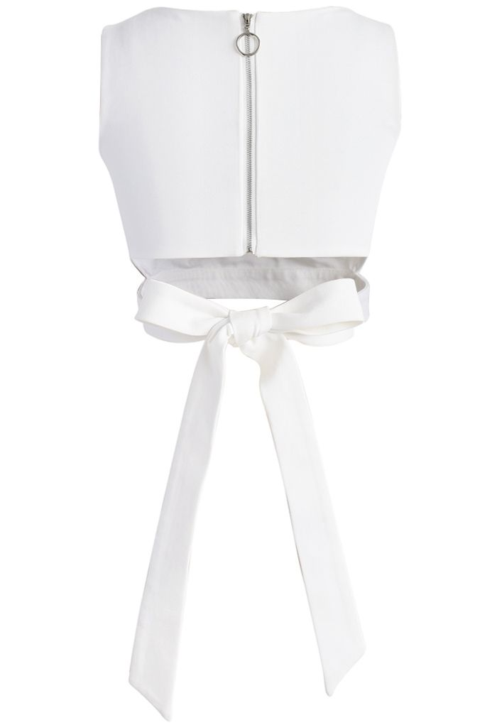A Fan of Bowknot Crop Top in White