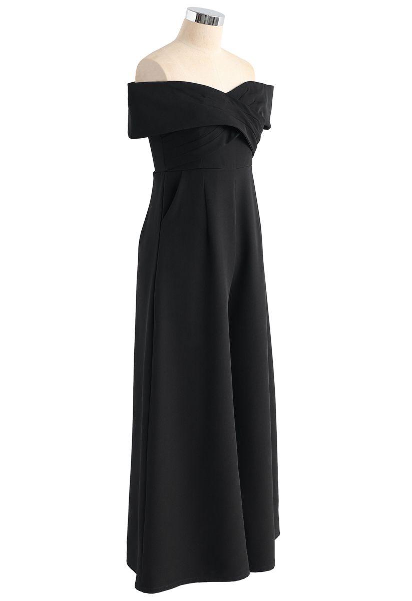 Eternal Sweet Cross Breast Off-Shoulder Jumpsuit in Black