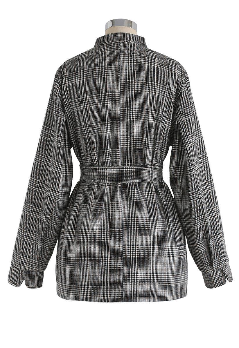 Modern Refined Check Tweed Blazer in Grey