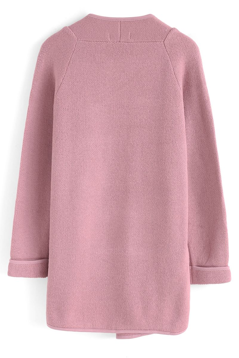 Just Knitted Open Coat in Pink