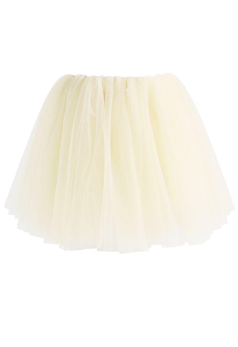 Amore Mesh Tulle Skirt in Cream For Kids