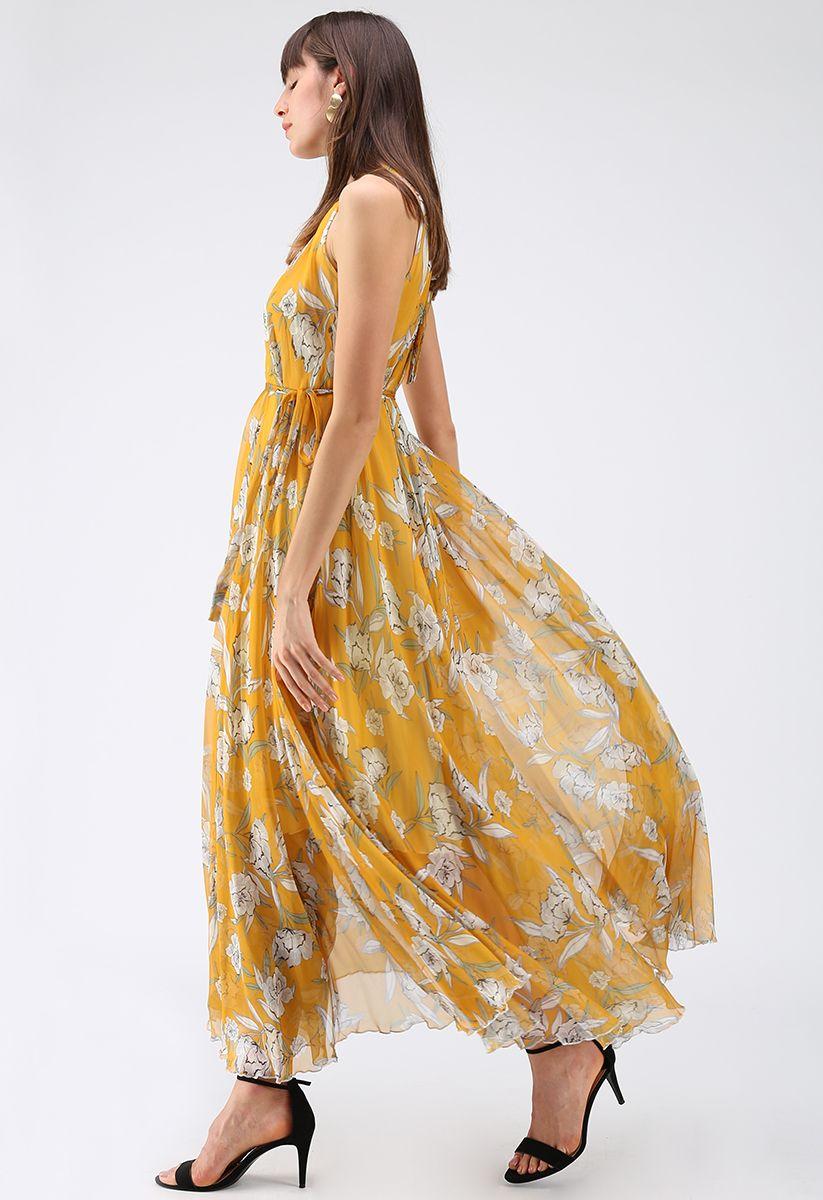 Flower Season Chiffon Maxi Slip Dress in Yellow