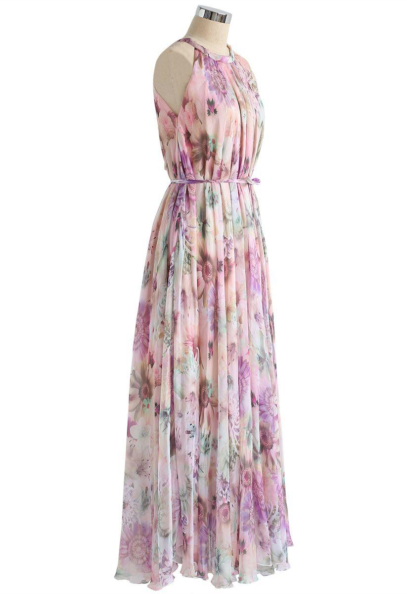 Sunflower Blossom Watercolor Chiffon Maxi Slip Dress