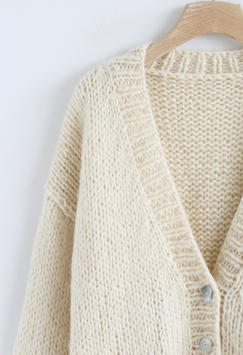 Pause for the Cozy Chunky Hand Knit Cardigan in Cream