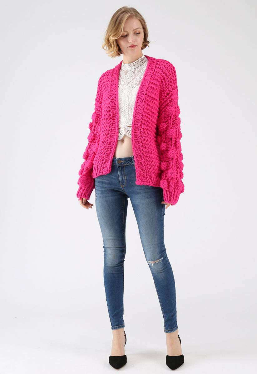 Cuteness on Sleeves Chunky Cardigan in Hot Pink