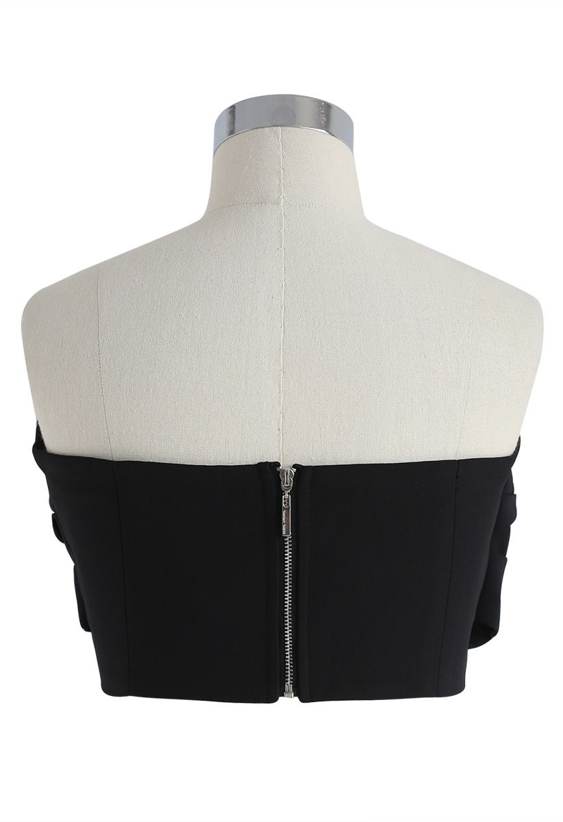Sweet Knot Bustier Top in Black