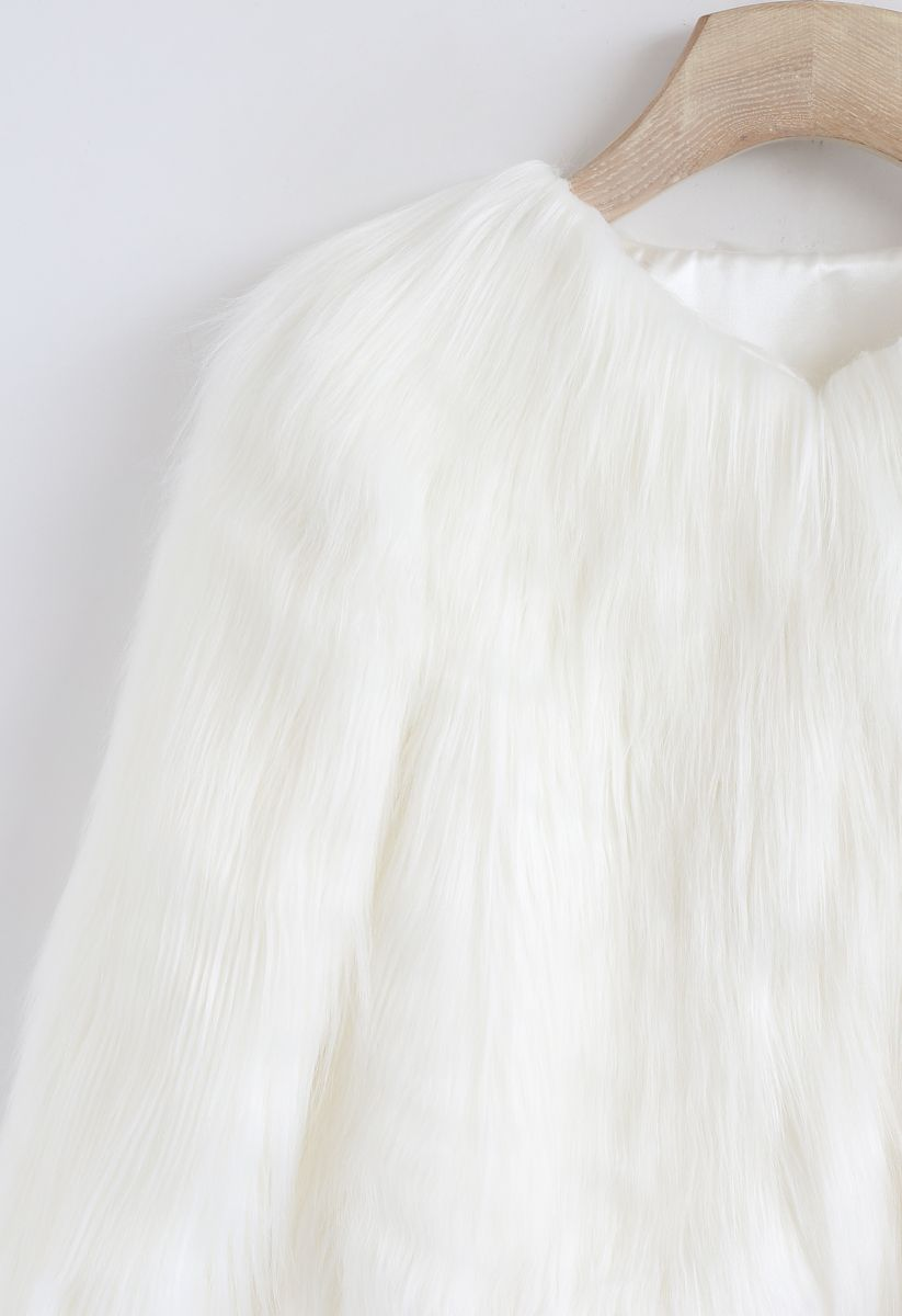 My Chic Faux Fur Coat in White For Kids