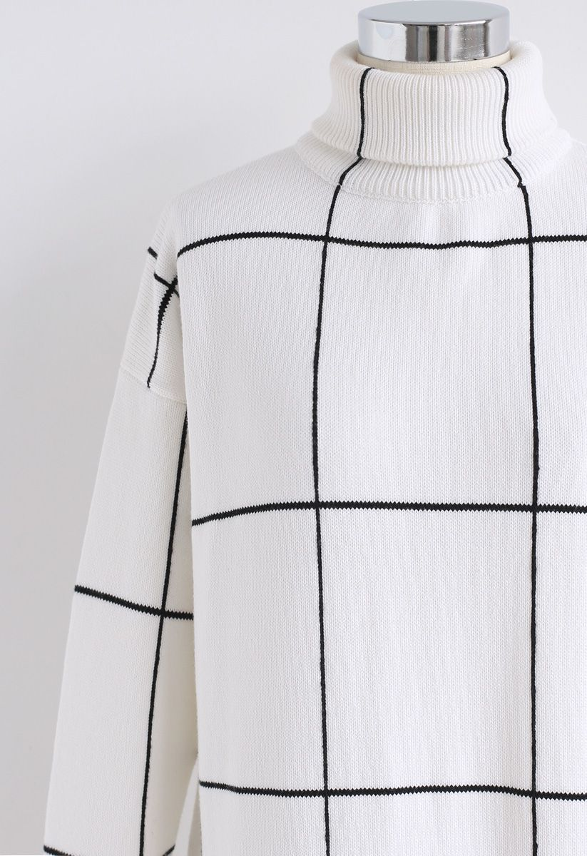 Warm Welcome Grid Turtleneck Sweater Dress