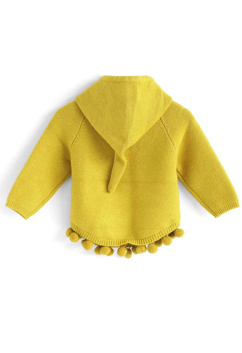 Bouncing Fun Hooded Sweater in Mustard For Kids