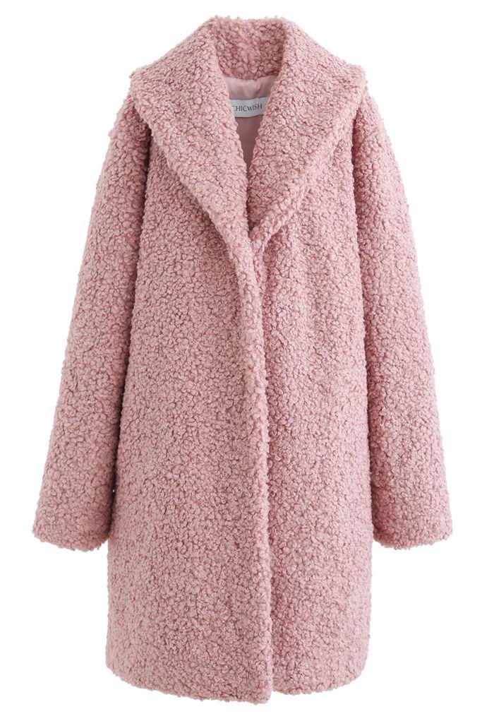 Feeling of Warmth Faux Fur Longline Coat in Mauve