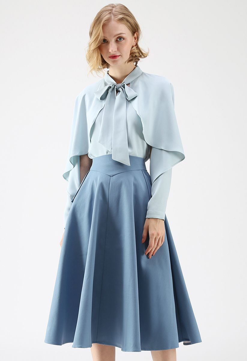 Classic Simplicity A-Line Midi Skirt in Blue