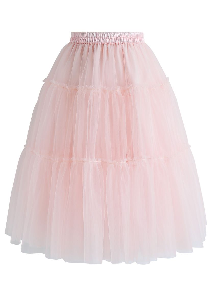 Amore Tulle Midi Skirt in Pink