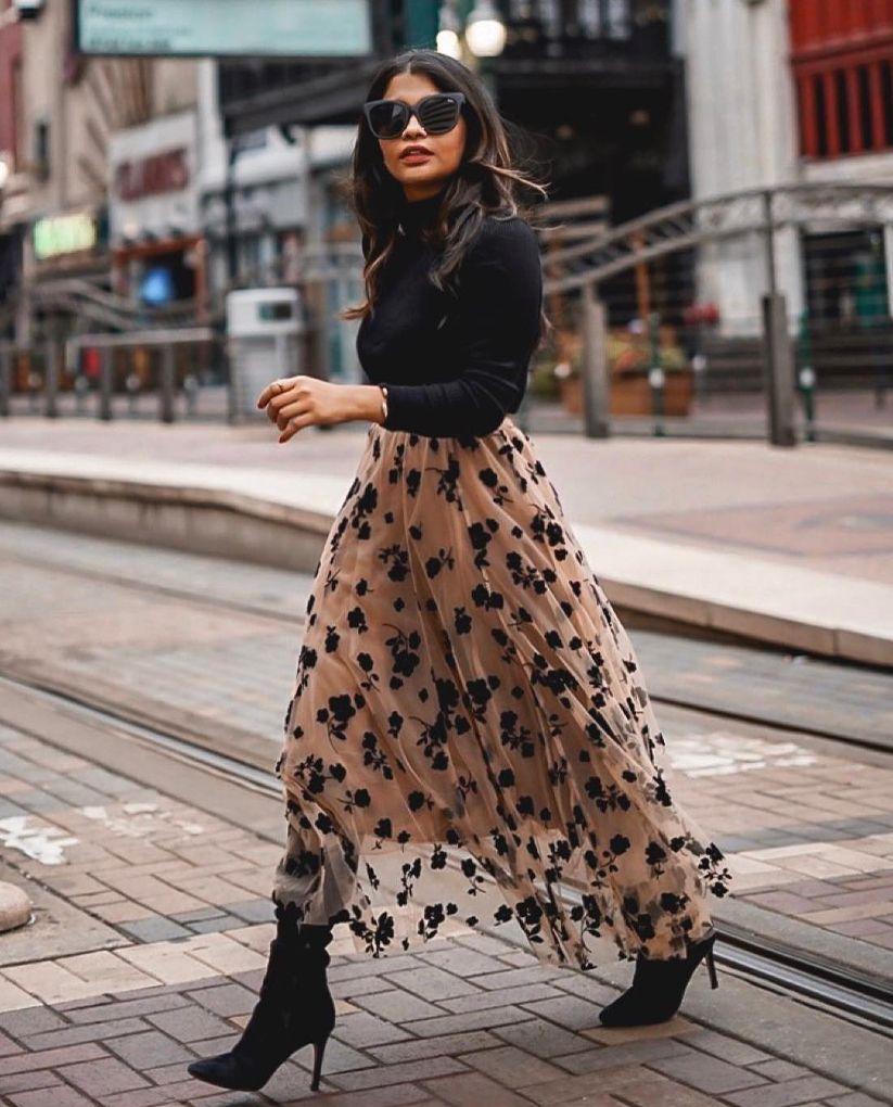 3D Posy Double-Layered Mesh Midi Skirt in Caramel