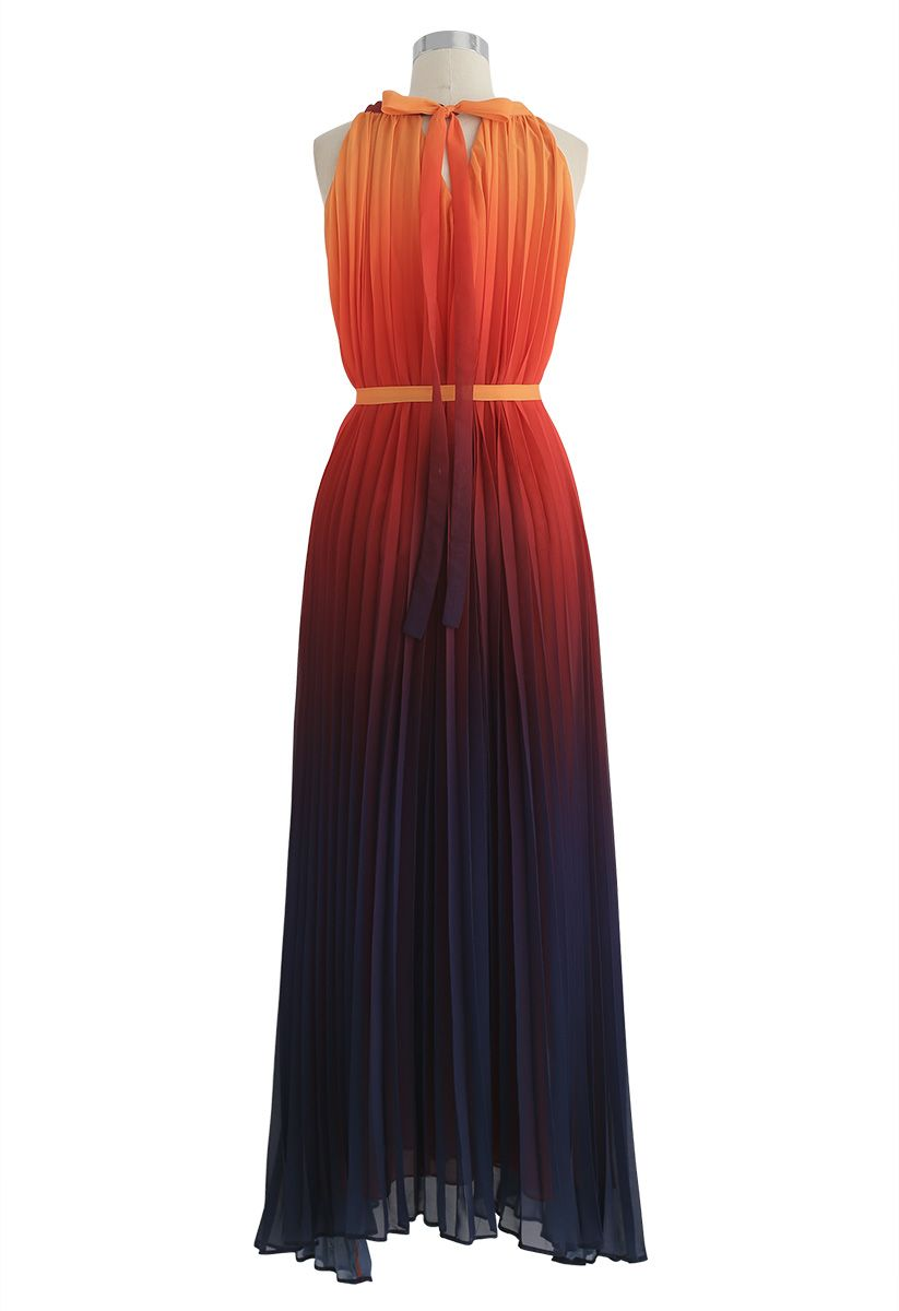Splendor of the Sunset Gradient Pleated Maxi Dress