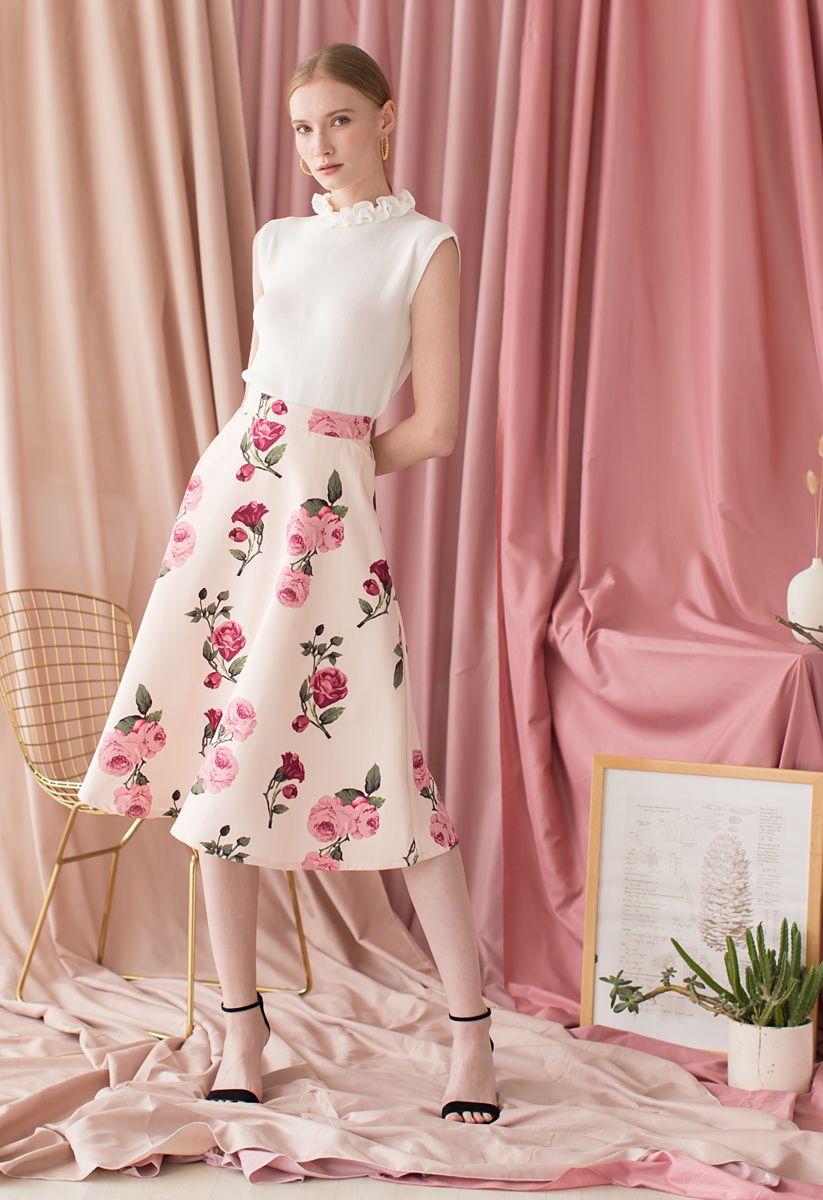 Peony Motif A-Line Midi Skirt