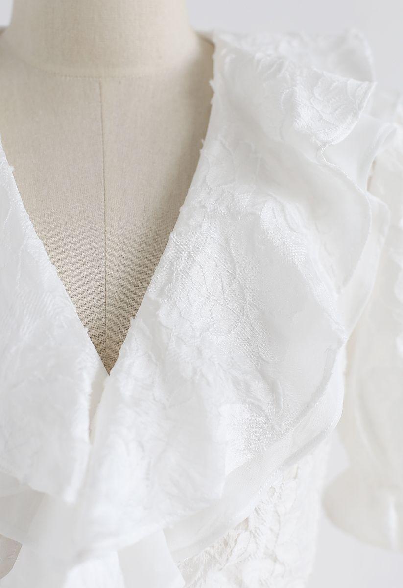 I'm Twenty Ruffle Wrap Crop Top in White