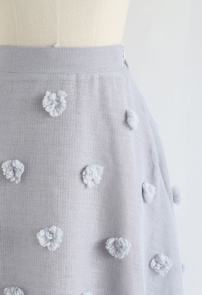 Cotton Candy Sheer 3D Flower Skirt in Grey
