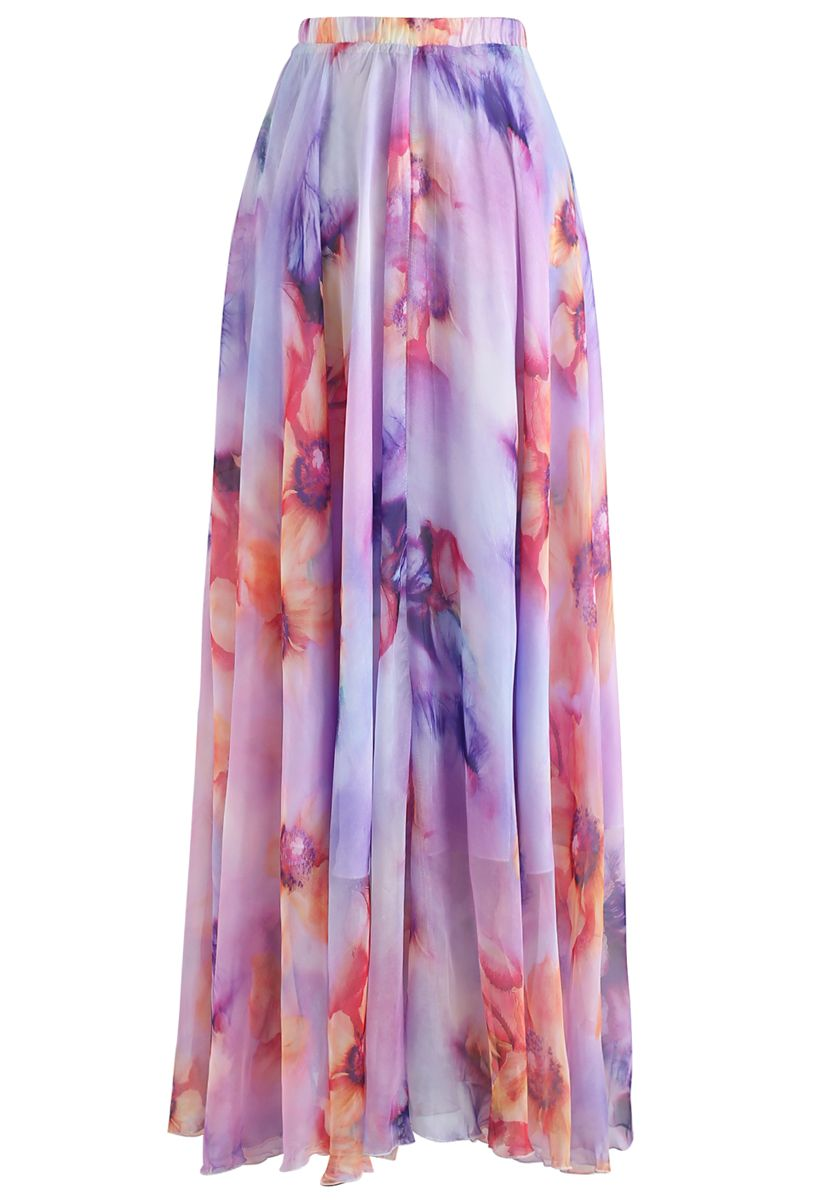 Blooming Flowers Watercolor Maxi Skirt in Lilac