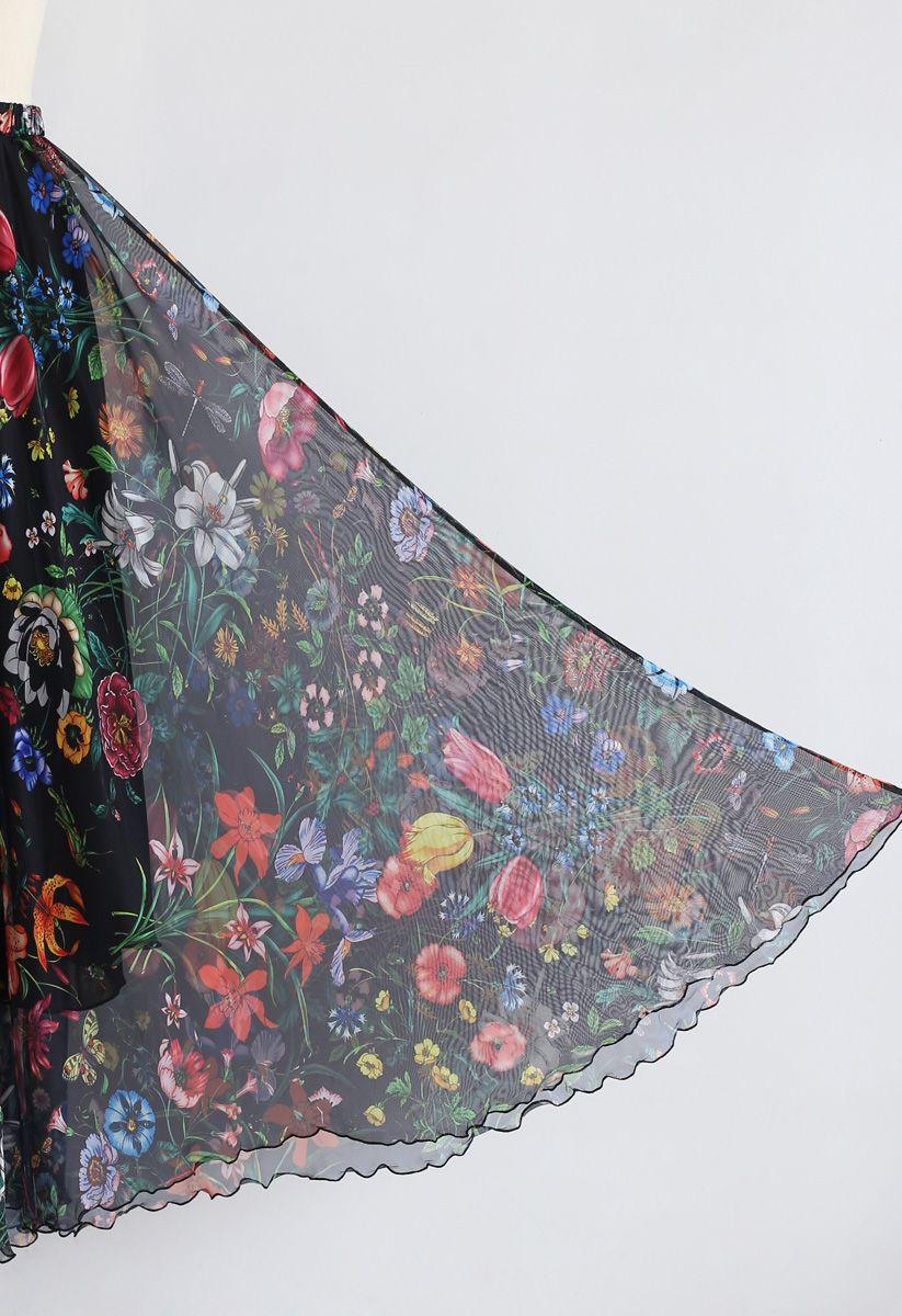Tropical Flowering Watercolor Maxi Skirt in Black