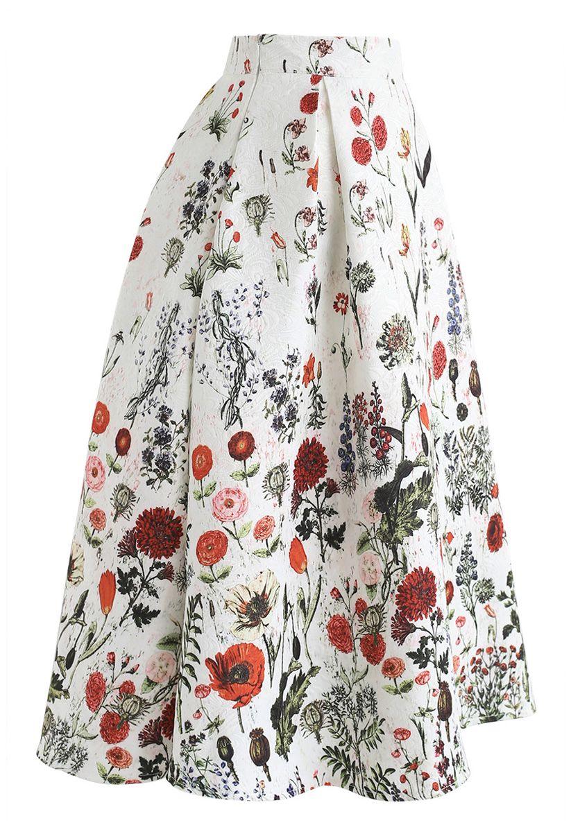 Multi Floral Print Embossed Midi Skirt