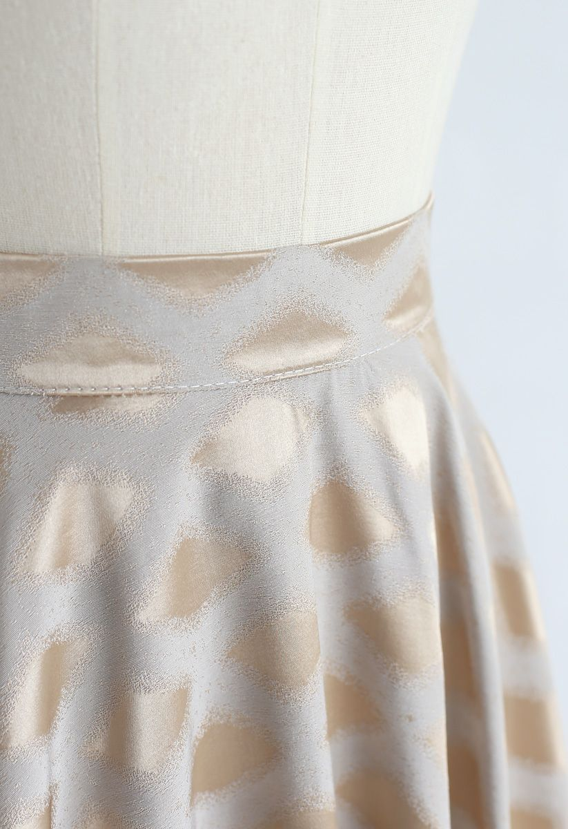 Diamond Printed Midi Skirt in Gold