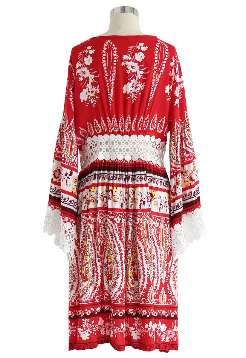 Crochet Trimmed Tie-Front Longline Kimono