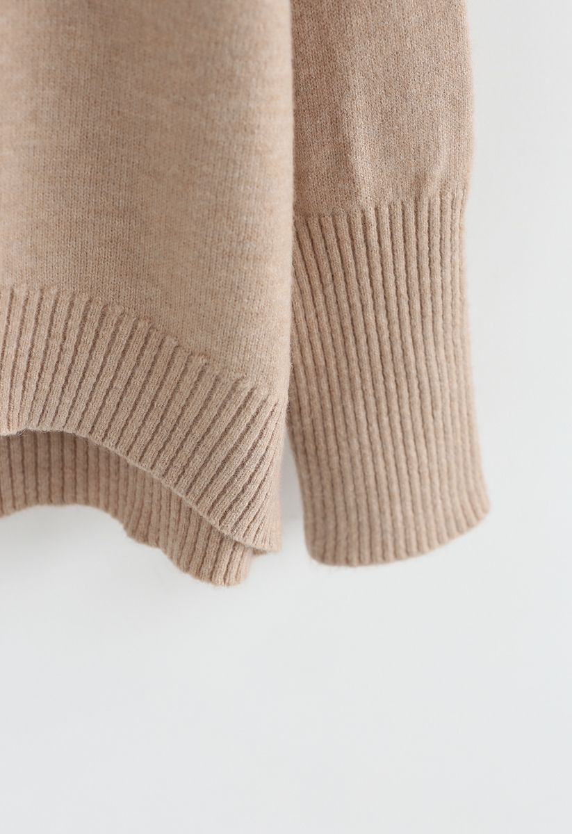Soft Touch Basic Cowl Neck Knit Sweater in Tan