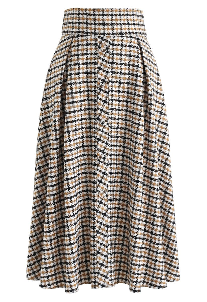 Button Front Plaid A-Line Midi Skirt