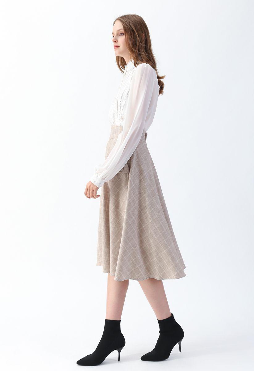 Classic Simplicity Grid A-Line Midi Skirt