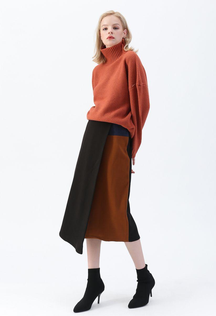 Flap Front Spliced Midi Skirt