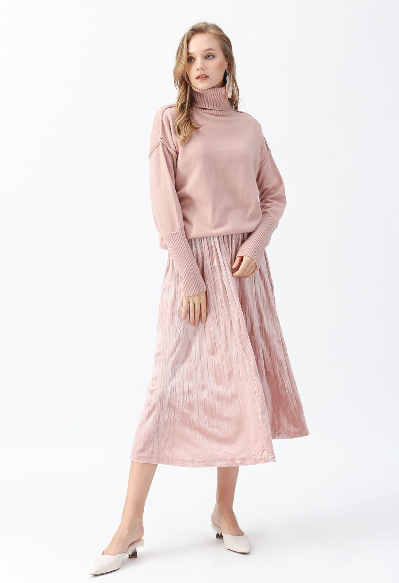 Soft Touch Basic Cowl Neck Knit Sweater in Pink