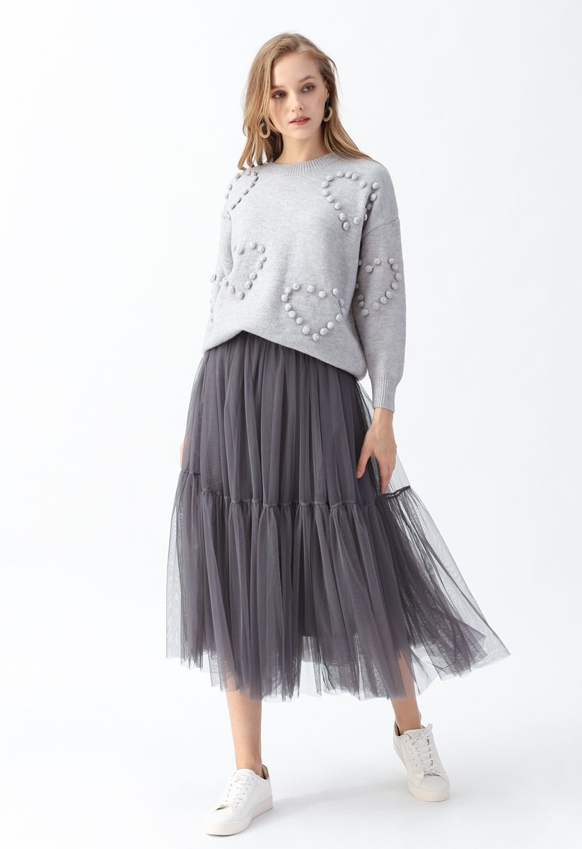 Can't Let Go Mesh Tulle Skirt in Smoke