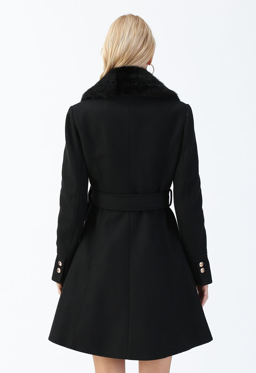 Faux Fur Collar Belted Flare Coat in Black