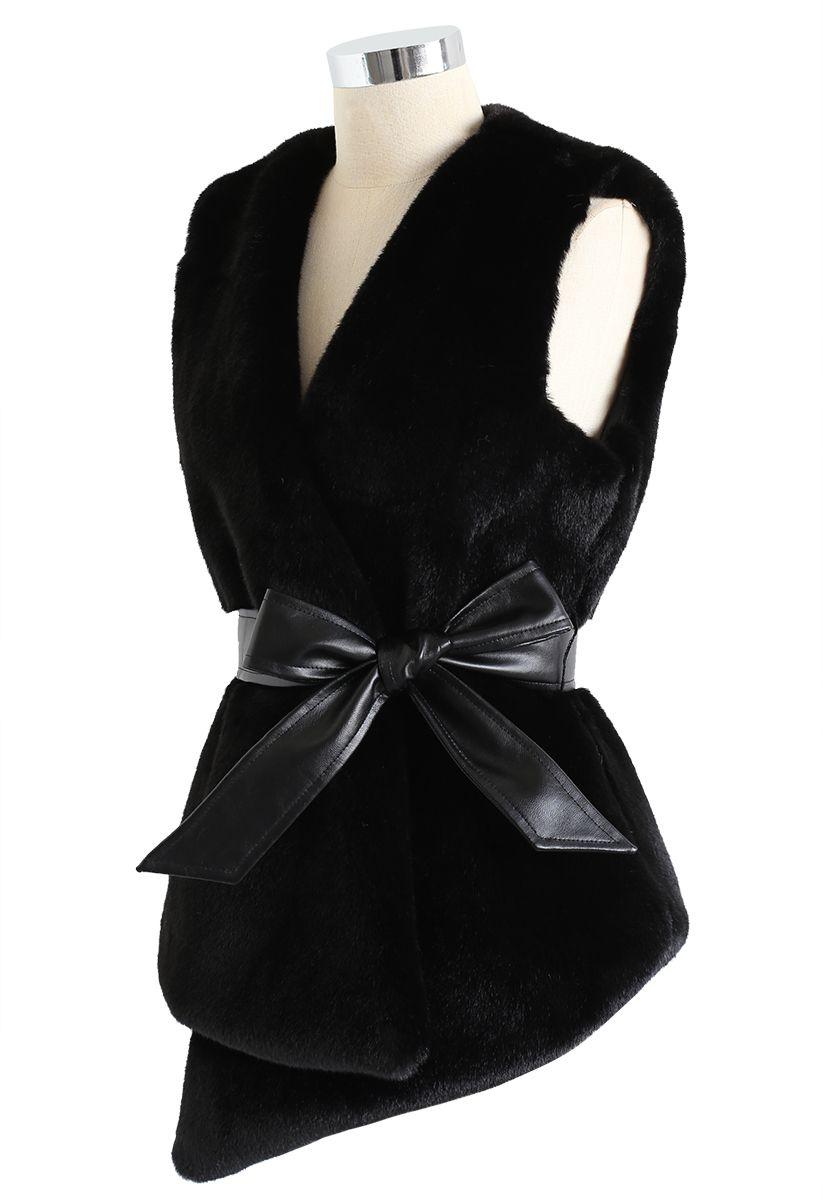 Asymmetric Faux Fur Vest with PU Leather Belt in Black