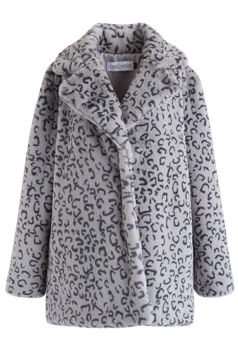 Collared Leopard Faux Fur Coat in Grey