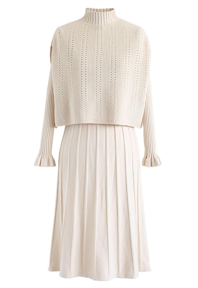 Mock Neck Pleated Knit Twinset Dress in Cream