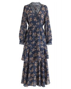 Floral Lacy Tiered Wrap Chiffon Dress in Blue