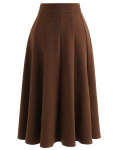 Wool-Blended A-Line Midi Skirt in Brown