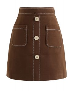 Contrasted Pockets Buttoned Mini Skirt in Brown